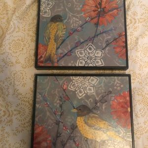 Set of 2 bird picture frames